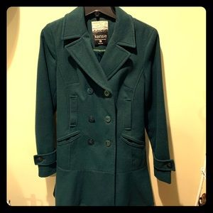 Teal pea coat with a skirted hem